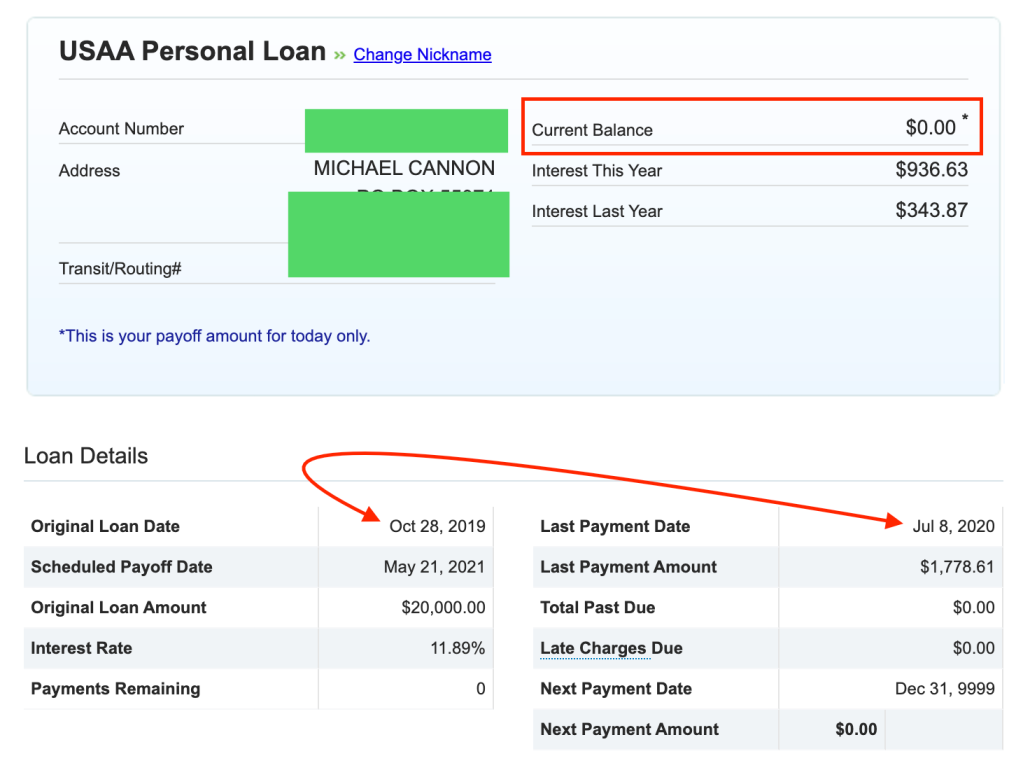 USAA loan paid graphic