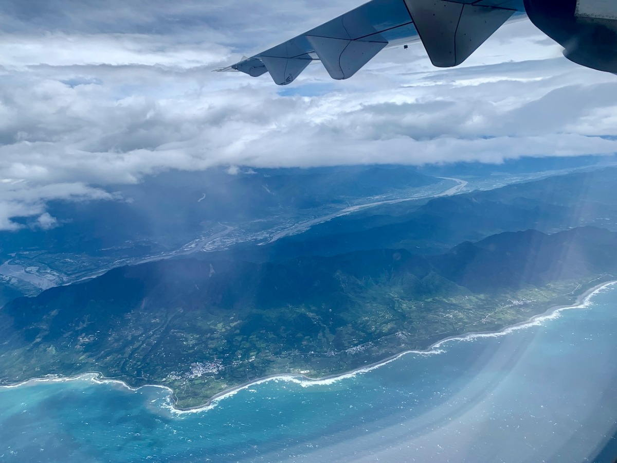 View of southern Taiwan mountains and coast from an airplane