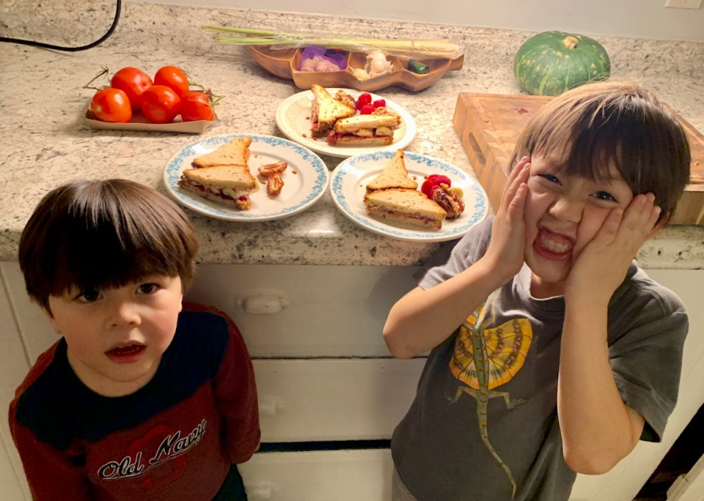Kids reacting to almond butter and sour cherry sandwiches, for dinner